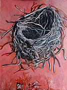 Tilly Strauss Paintings - Nest above house by Tilly Strauss
