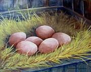 Easter Eggs Paintings - Nest Eggs by Sharon Marcella Marston