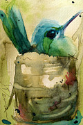 Hummingbird Paintings - Nesting Hummingbird by Dawn Derman