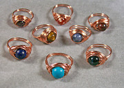 Ring Jewelry - Nestled Bead Copper Ring u choose stone by Heather Jordan