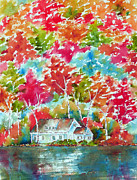 Lakeside Paintings - Nestled - Mont Tremblant by Pat Katz
