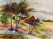 Old Barn Drawings - Nestled Nearby Barns by John  Williams