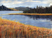 Pacific City Paintings - Nestucca River and Bay  by Chriss Pagani