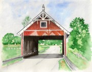 Covered Bridge Paintings - Netcher Road Bridge by Laurie Anderson