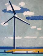 Project Painting Prints - Netherlands Wind Turbine Print by Lesley Giles