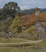 Feeding Birds Painting Framed Prints - Netley Farm Shere Surrey Framed Print by Helen Allingham