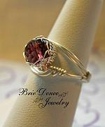 Woven Jewelry Originals - Netted Glass Amethyst Ring sz 6.75 or sz 9 by Brittney Brownell