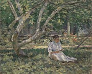 Edwardian Prints - Nettie Reading Print by Theodore Robinson