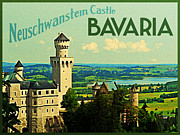 Bayern Framed Prints - Neuschwanstein Castle Bavaria Framed Print by Vintage Poster Designs
