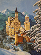 Disney Artist Framed Prints - Neuschwanstein Castle in Winter Framed Print by Charlotte Blanchard
