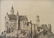 Knights Castle Drawings - Neuschwanstein by Dan Hausel