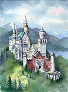 Fairyland Castle Posters - Neuschwanstein Poster by Jean White