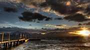 Dock Acrylic Prints - Nevada Beach Sunset by Brad Scott