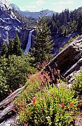 Waterfalls Posters - Nevada Falls Yosemite National Park Poster by Alan Lenk