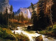 Falls Paintings - Nevada Falls Yosemite  by Pg Reproductions