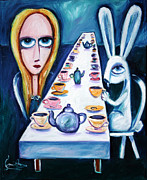 Mad Hatter Paintings - Never Ending Tea Party by Leanne Wilkes