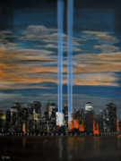Twin Towers Trade Center Painting Metal Prints - Never Forget  Metal Print by Thom Murphy