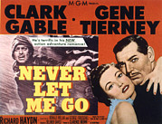 Clark Gable Framed Prints - Never Let Me Go, Clark Gable, Gene Framed Print by Everett