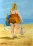 Beach  Art Paintings - Never Without My Purse by Vicky Watkins