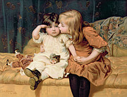 Toddler Painting Metal Prints - Nevermind Metal Print by Frederick Morgan