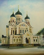 Architectur Painting Metal Prints - Nevsky Catedral Metal Print by Ahto Laadoga