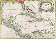 Vintage Map Drawings Framed Prints - New and accurate map of the West Indies Framed Print by American School