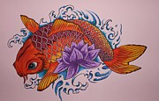 Koi Painting Posters - New Beginnings  Poster by Kat Starr