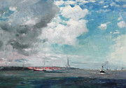 Blue Sailboat Metal Prints - New Brighton from the Mersey Metal Print by JH Hay
