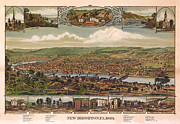Vintage Map Digital Art Prints - New Brighton Pennsylvania 1883 Print by Donna Leach