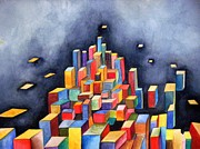 Boxes Paintings - New City by Susan Wester Perez