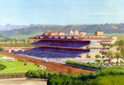 Horse Racing Painting Prints - New Del Mar Racetrack Print by Mary Helmreich