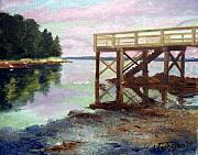Maine Painting Framed Prints - New Dock at Saturday Cove Beach Framed Print by Laura Tasheiko
