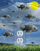 Surrealism Glass Posters - New Energy Poster by Keith Dillon