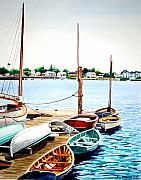 Docked Boats Painting Posters - New England Boats Poster by Rick Mock