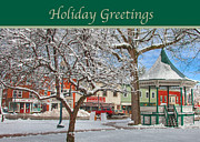 Gazebo Greeting Card Framed Prints - New England Christmas Framed Print by Joann Vitali