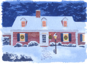 New England Snow Scene Painting Framed Prints - New England Christmas Framed Print by Mary Helmreich