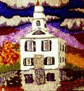 Vermont Tapestries - Textiles Originals - New England Church by Bets F
