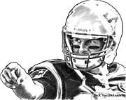 Tom Brady Prints - New England Patriots Tom Brady  Print by Jack Kurzenknabe