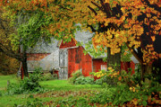 Country Scene Prints - New England Rustic - New England Fall landscape red barn Print by Jon Holiday