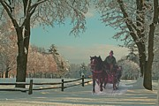 New England Paintings - New England Sleighride by Earl Jackson