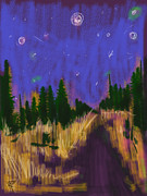 New England. Mixed Media Posters - New England Starry Night Poster by Russell Pierce