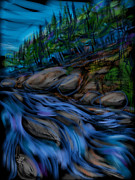 Water Flowing Mixed Media Posters - New England Stream Poster by Russell Pierce