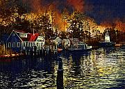 Lighthouse Digital Art Originals - New England Town by Paul Bartoszek