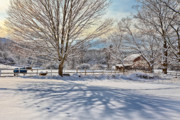 Snow Scene Posters - New England Winter Poster by Bill  Wakeley