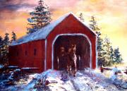 Covered Bridge Painting Metal Prints - New England Winter Crossing Metal Print by Jack Skinner