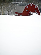Red Barn. New England Framed Prints - New England Winter Framed Print by Edward Fielding