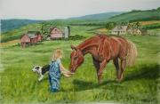Horse Pasture Prints - New Friends Print by Charlotte Blanchard