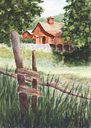 Farm Buildings Painting Originals - New Hampshire Farm by Meredith Landry
