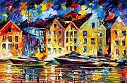 Europe Painting Acrylic Prints - New Harbor Acrylic Print by Leonid Afremov