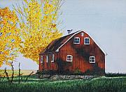 Weathervane Painting Posters - New Hartford Barn Poster by Sharon Farber